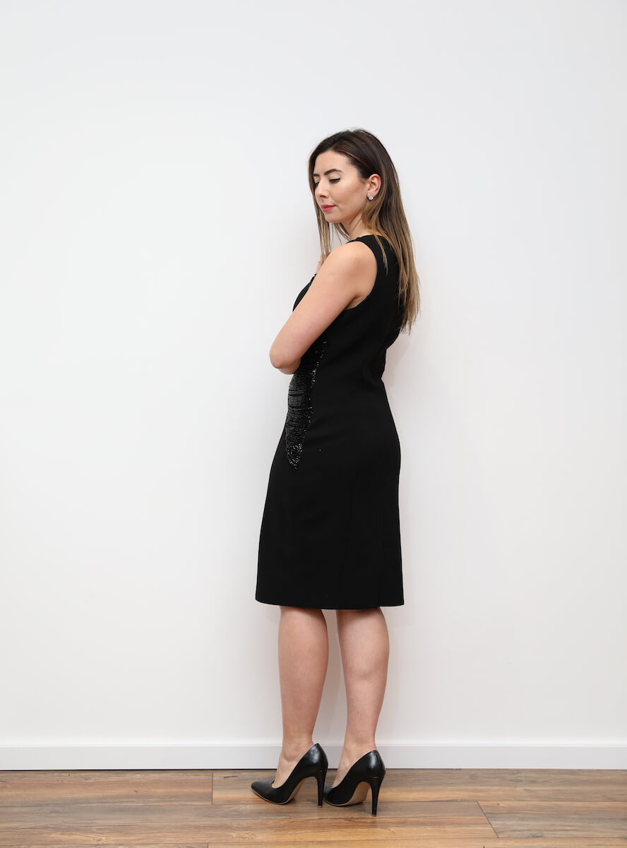 aa1d4789eb 604 – Black horizontal fringe cocktail dress – www.melsdress.com