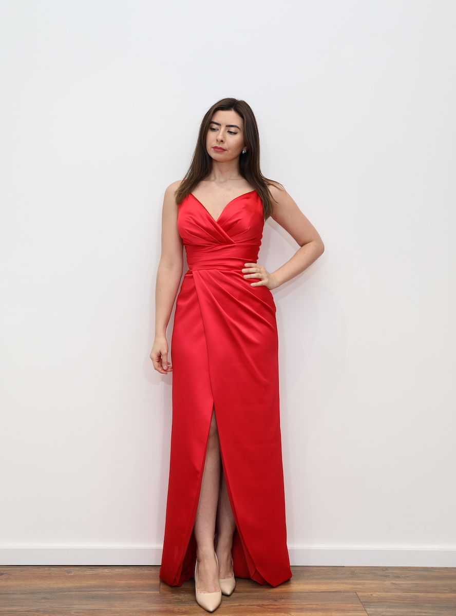 Red Satin Maxi Dress