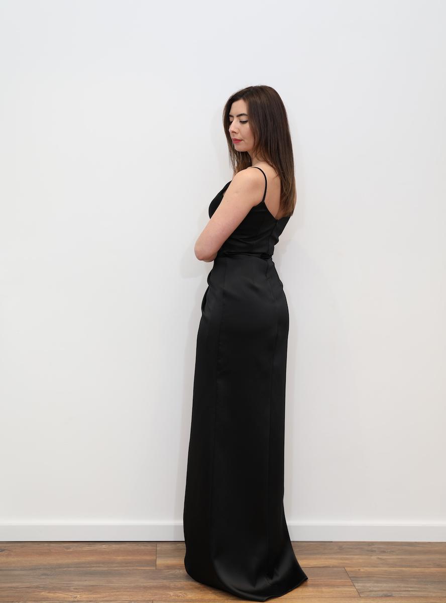 8471847fef 705 – Black satin drape maxi dress with split – www.melsdress.com