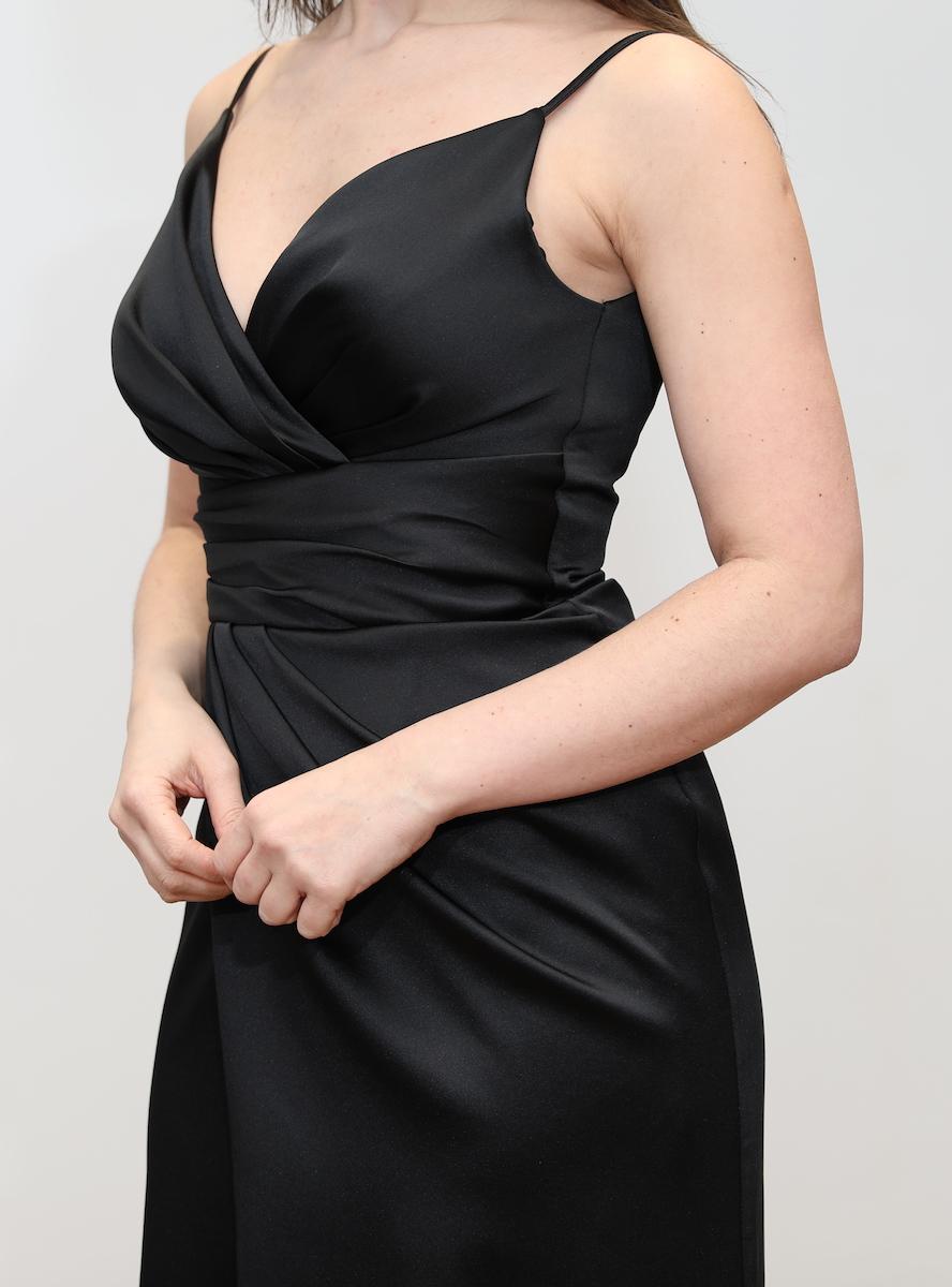 1aa498ee4bb 705 – Black satin drape maxi dress with split – www.melsdress.com