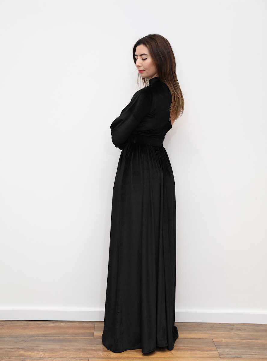 27fae19e20 780 – Black velvet maxi dress with belt and one shoulder – www ...