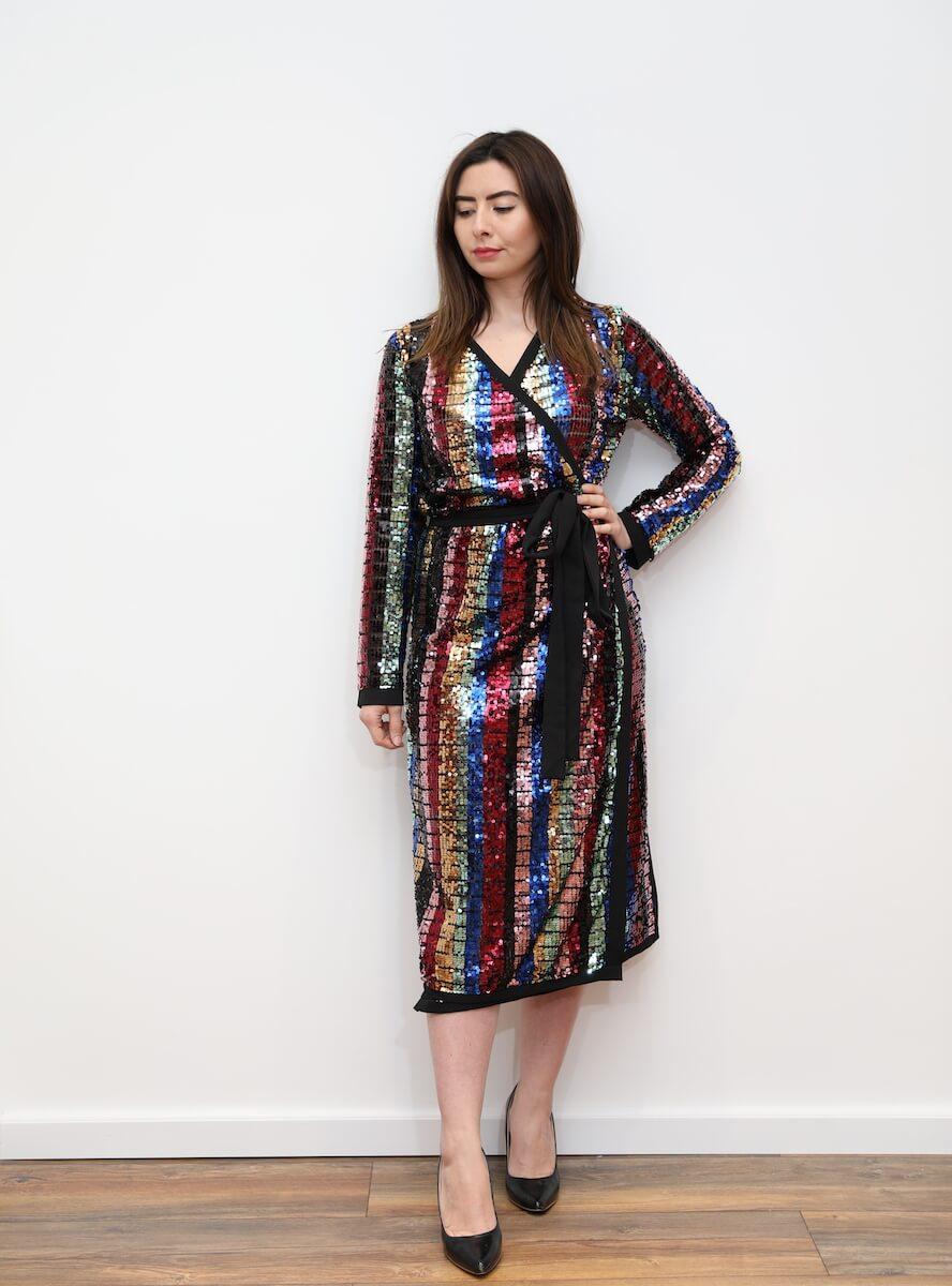 cbafb01c 785 – Plus rainbow sequin wrap midi dress – www.melsdress.com