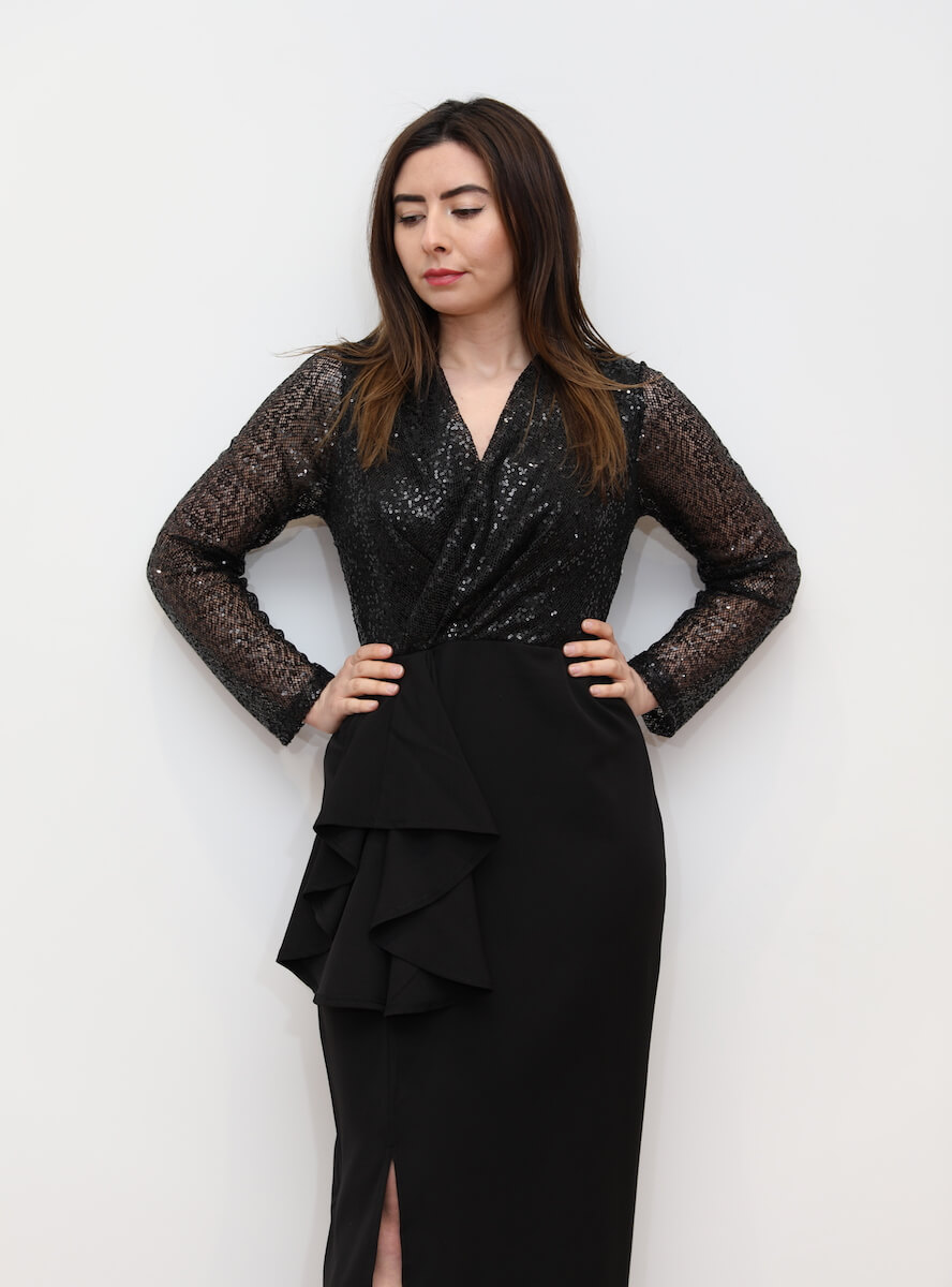90a11b62ca1 806 – PLUS Black maxi dress with sequin top and split – www ...