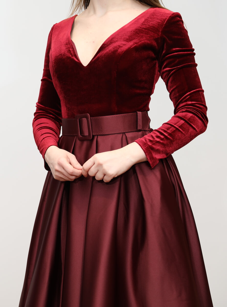 02b1f1928c Premium 907 – Burgundy red a-line maxi dress with Velvet top and ...