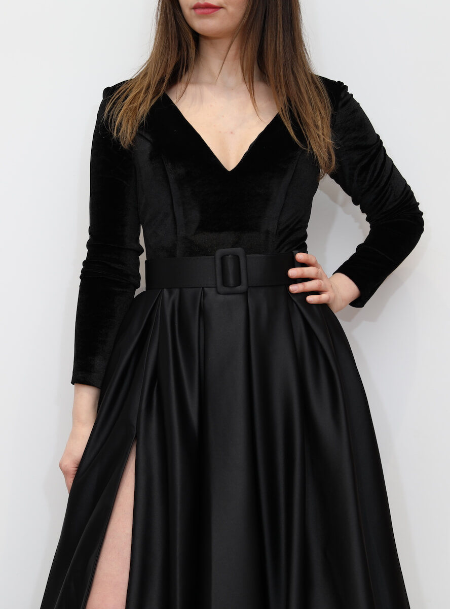 a9cb65fc6e Premium 908 – Black a-line maxi dress with Velvet top and split ...