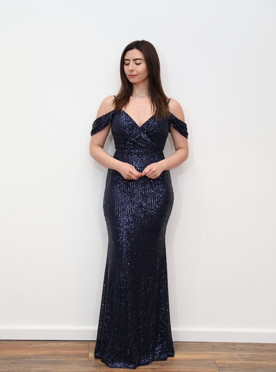 a4ee919508d 1003 – Navy blue sequin maxi dress with cold shoulder – www.melsdress.com