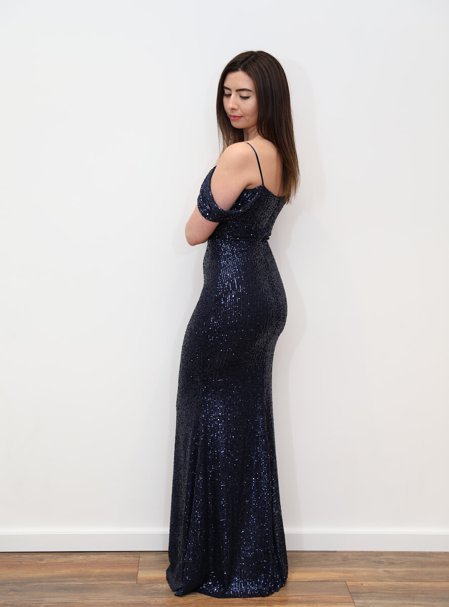 8323beffdfa 1003 – Navy blue sequin maxi dress with cold shoulder – www ...