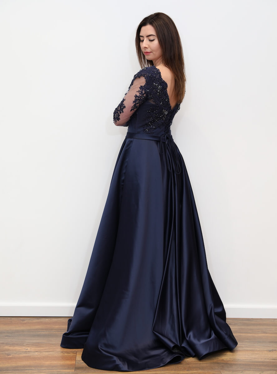 e17998a3fd4c69 1017 – Plus Navy blue embellished A-line maxi dress – www.melsdress.com